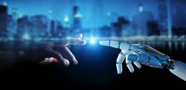 The picture displays white cyborg finger about to touch human finger on city background 3D rendering – Finance Brokerage