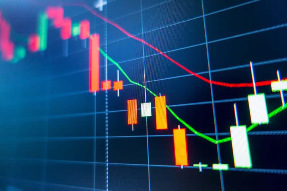 Stock exchange market graph analysis background