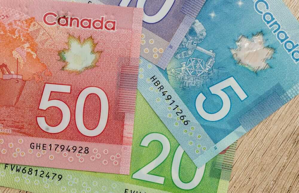 canadian dollar bills on table close up.