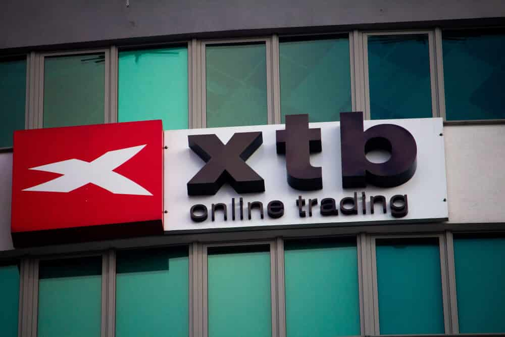 View on the XTB logo on the top of office building.