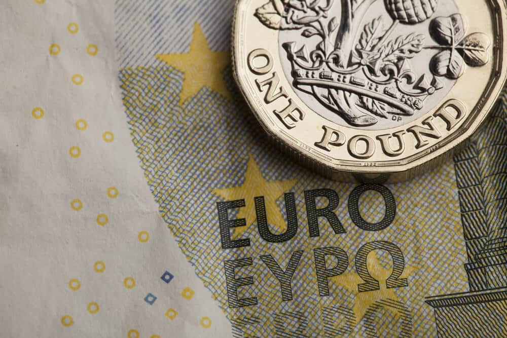 New one pound sterling coin and euro photo.