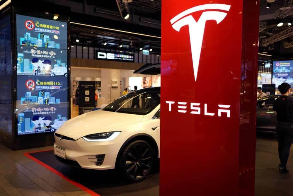 Tesla model X on display.