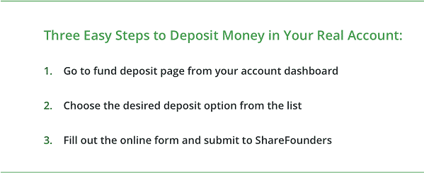 3 easy steps to deposit money ShareFounders