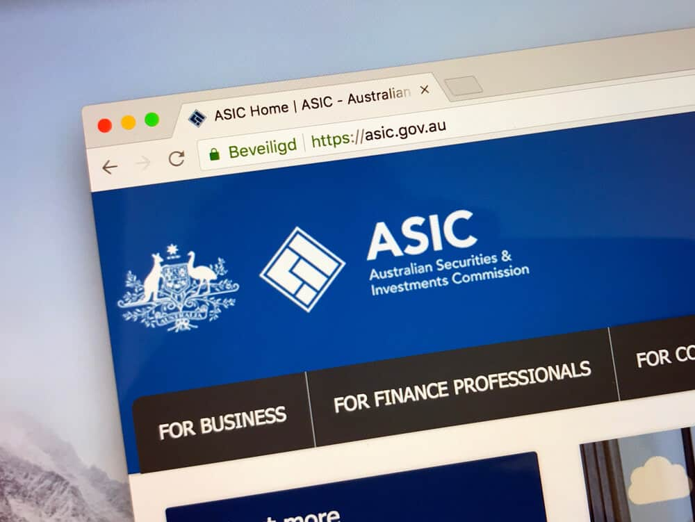 Website of The Australian Securities and Investments Commission.