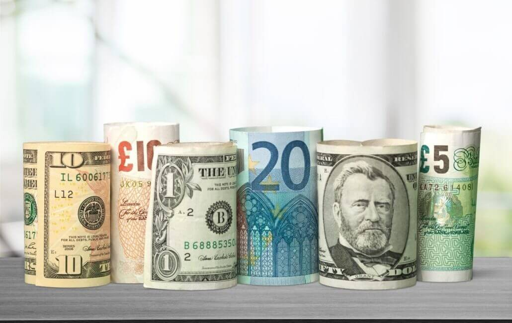 dollar and euro, pound
