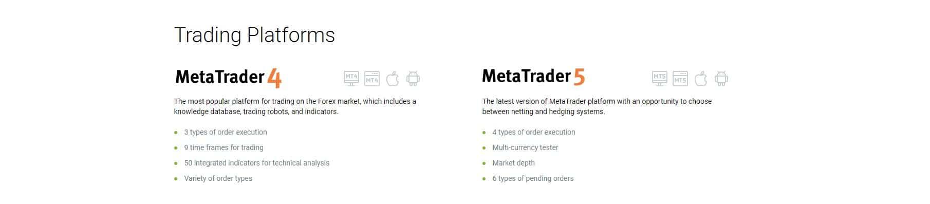 trading platforms: MetaTrader4 and Metatrader5