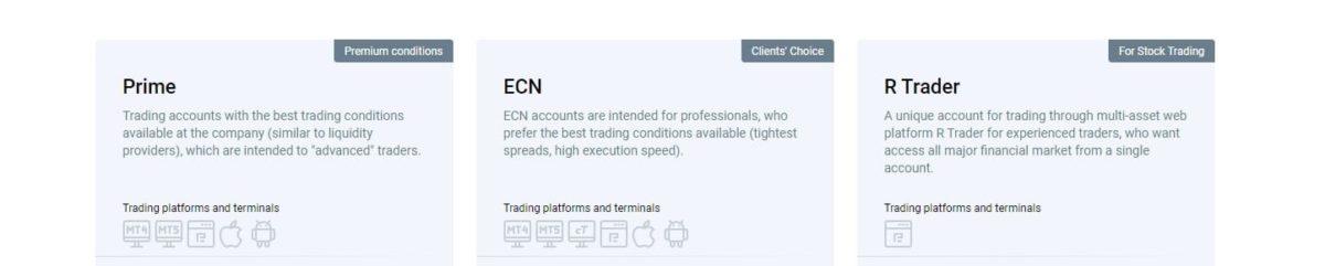 roboforex rewview - trading accounts
