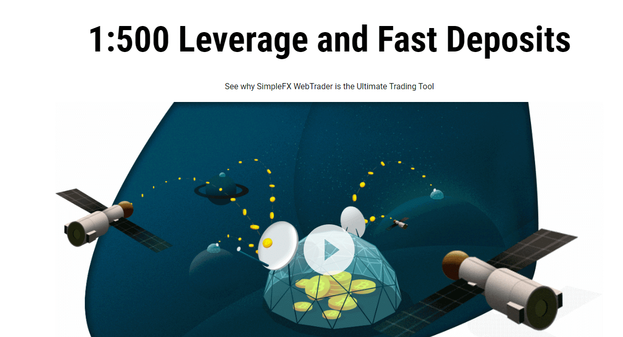 SimpleFX 1:500 leverage and fast deposits