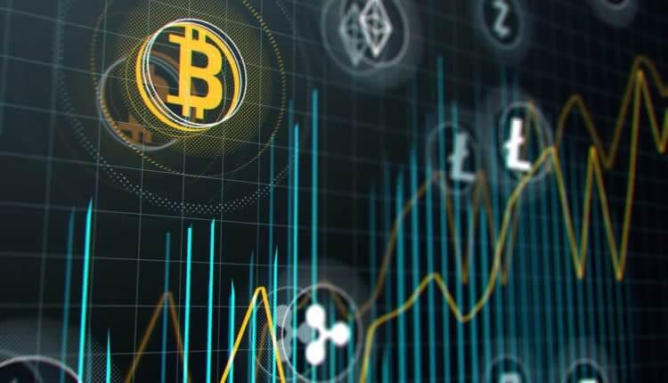 gráfico azul bitcoin