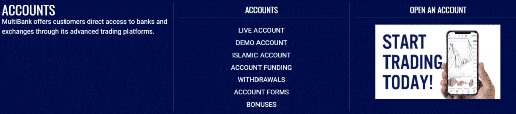 What Kind of Accounts does MultiBank offer?