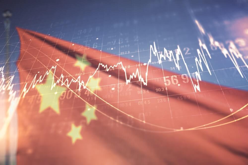 bandeira da china e gráficos