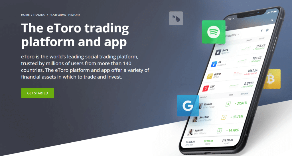 eToro trading platform and app