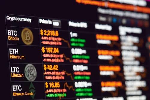 BTC, ETH, LTC ETC prices on trading terminals.