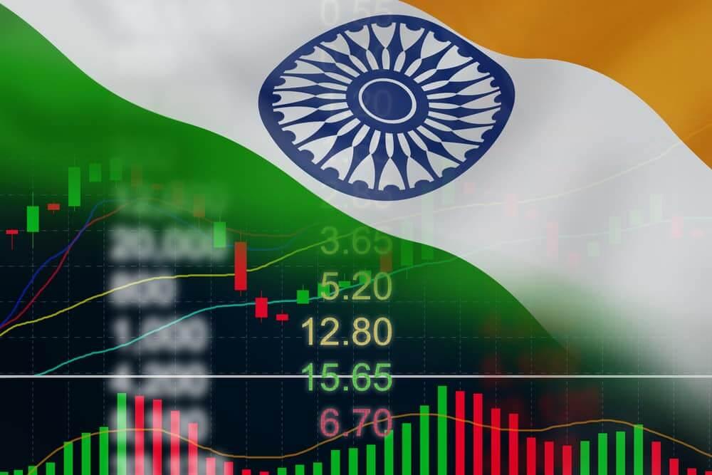 bandeira da india com graficos ao fundo